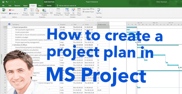 ms project create new project plan